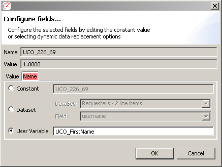 Configuring a field name variable