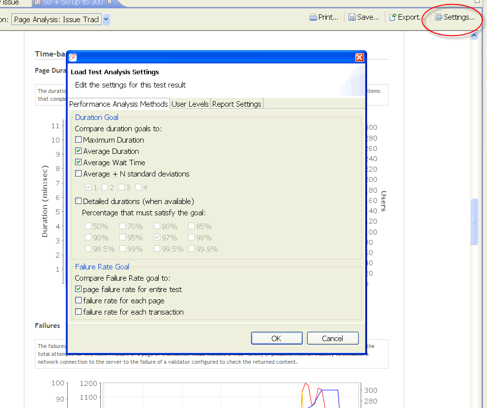Picture showing how to change analysis methods in the report settings dialog