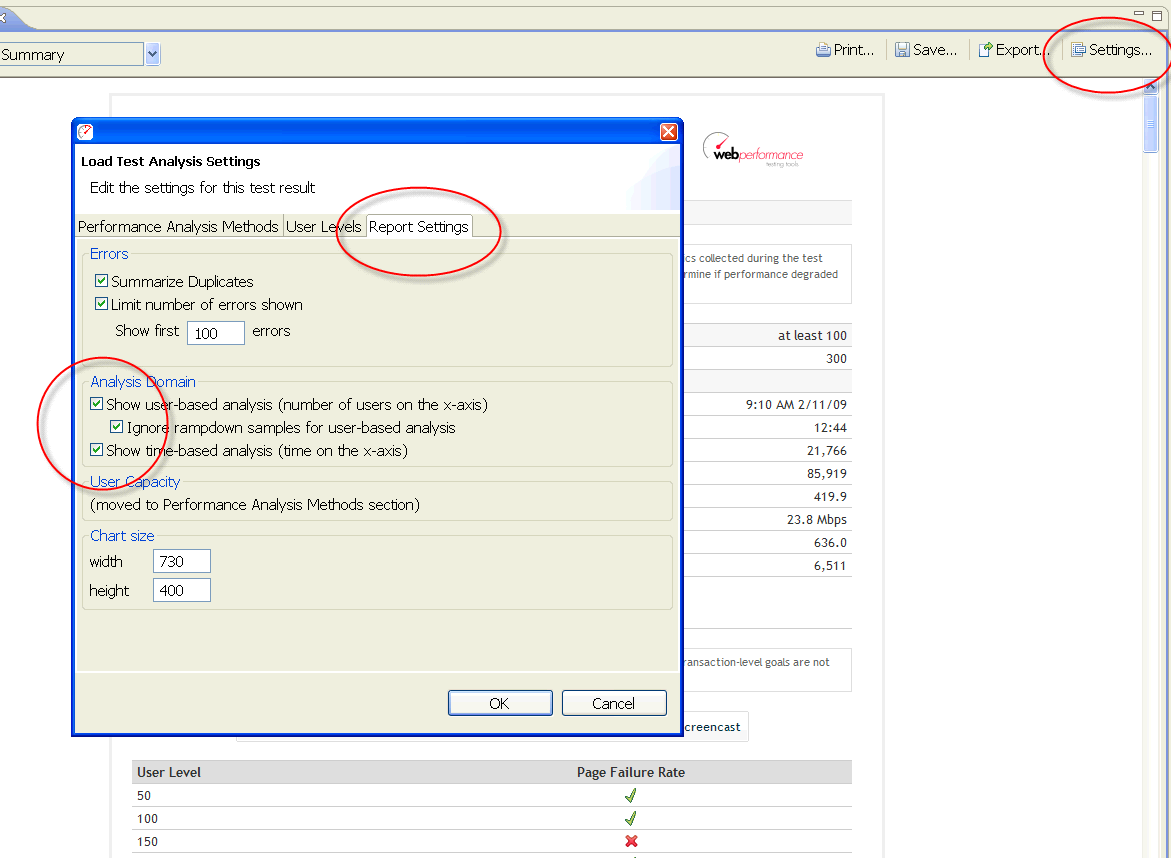 Picture of Dialog for Setting User-Based Analysis
