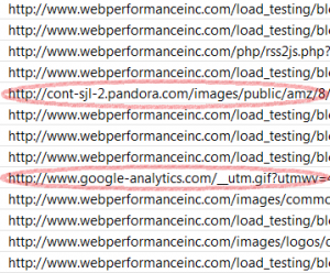 Examples of irrelevant traffic that might get picked up by load tester.