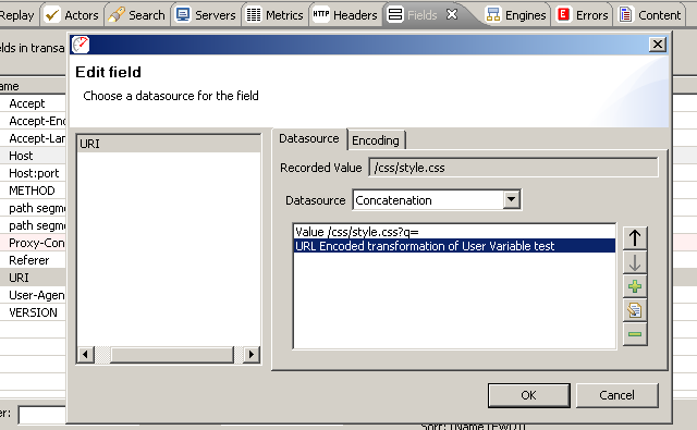 "Add a Transform, URL Encoded, User Variable ""test"""