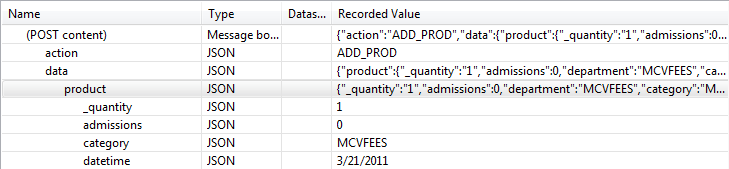 Some JSON content in an HTTP POST, broken down in Load Tester's fields view by hierarchy and name-value pair.
