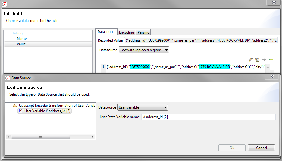 A screenshot of the field edit dialog, with an automatically configured customer address hilighted in blue.