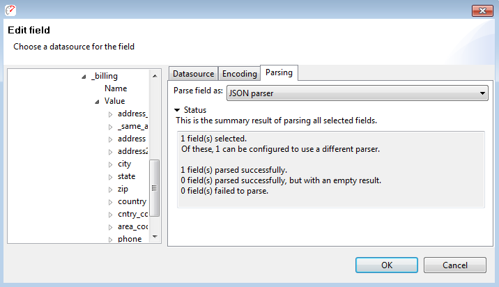Choosing a parser using the Field Edit Dialog