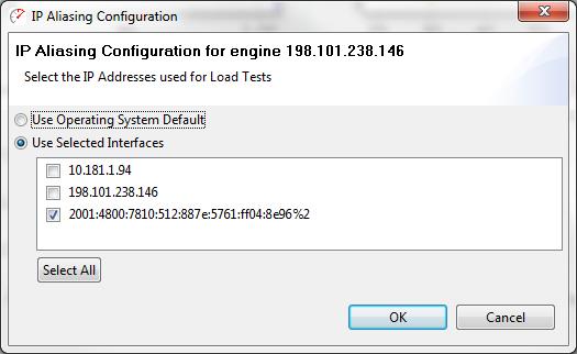 IP configuration dialog - Web Performance